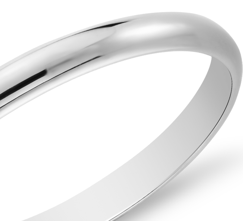 Classic Wedding Ring in 14k White Gold (2mm)