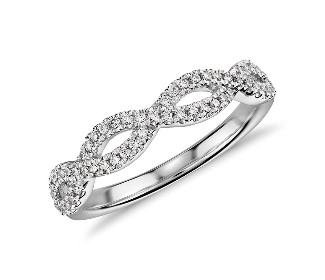 Infinity Twist Micropave Diamond Wedding Ring In 14k White Gold 1 5