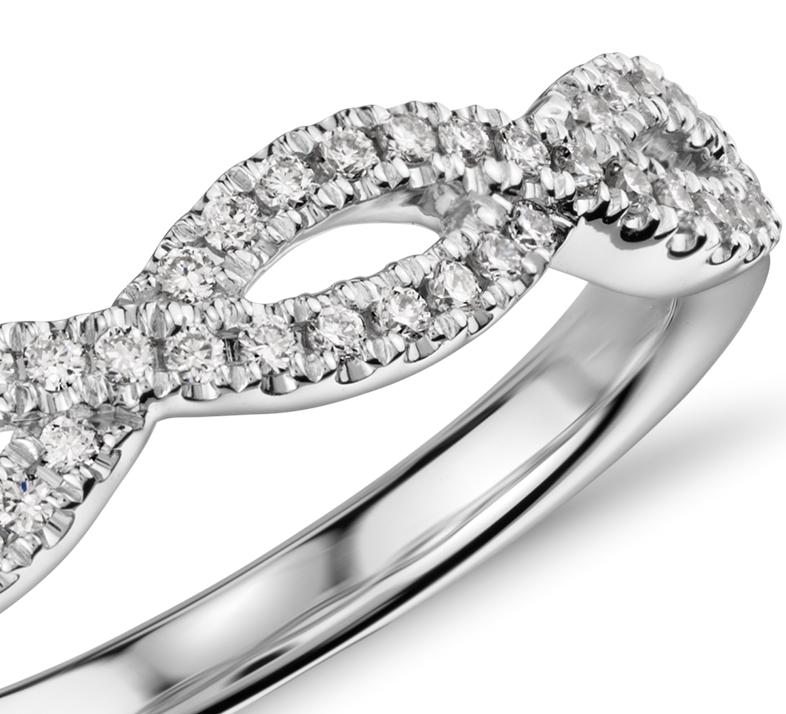 Alliance en diamants sertis micro-pavé torsadée Infinity en or blanc 14carats (1/5carat, poids total)