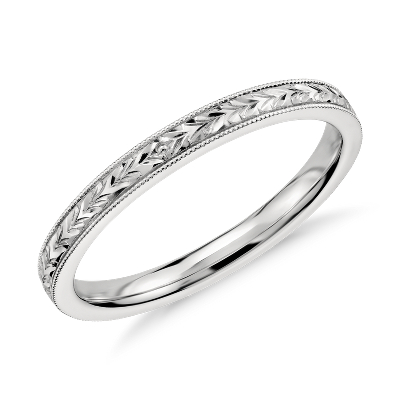 HandEngraved Wedding Ring in 14k White Gold Blue Nile