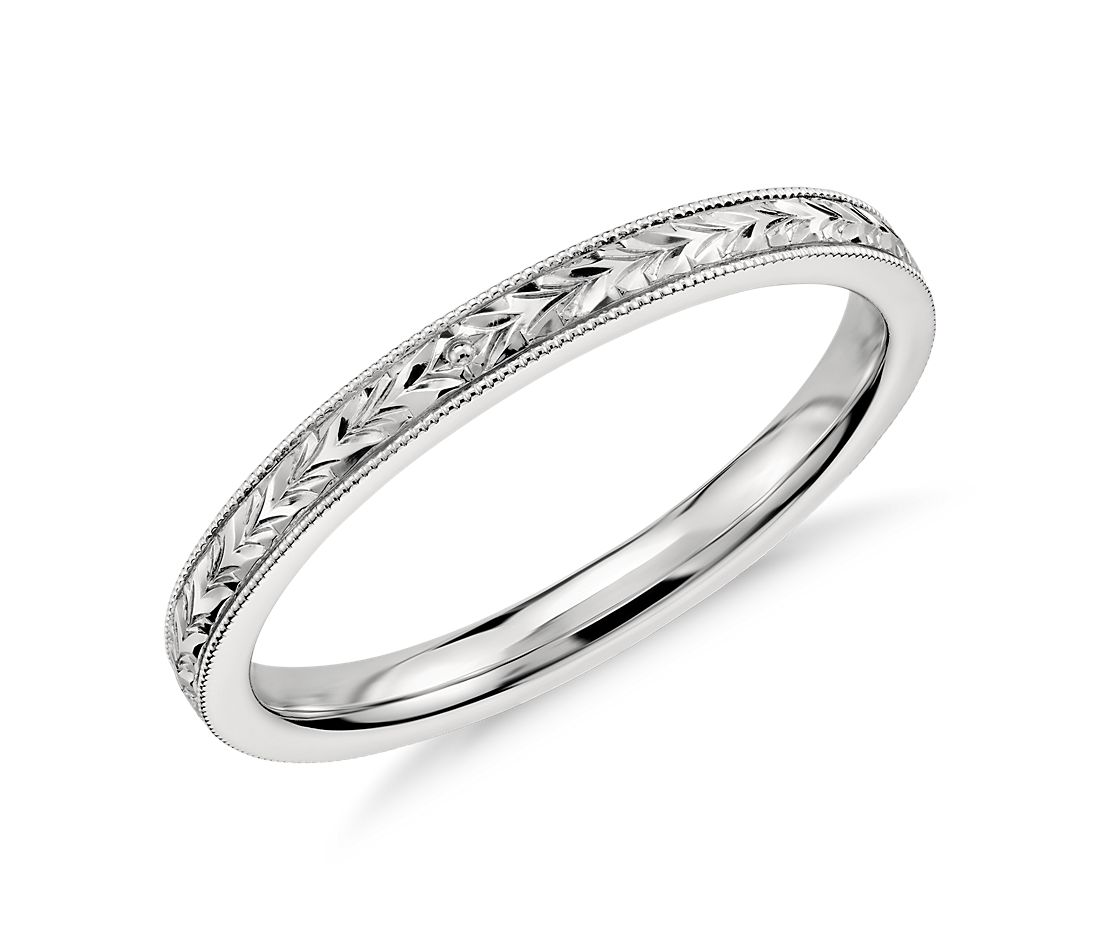 Hand engraved wedding ring in 14k white gold blue nile for Wedding rings in white gold