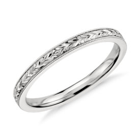 Hand Engraved Wedding Ring in 14k White Gold
