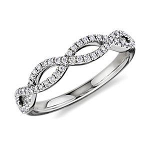 Alliance en diamants sertis micro-pavé torsadée Infinity en or blanc 14carats