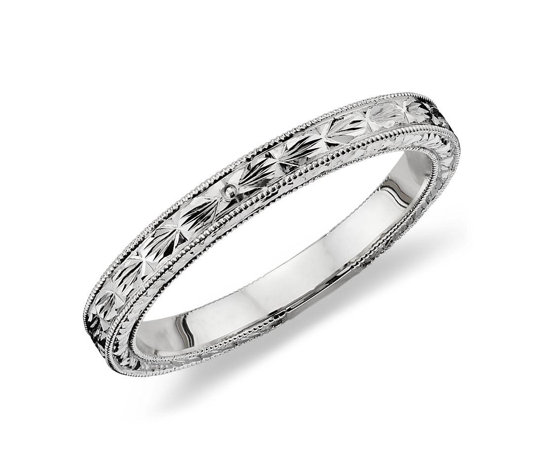 hand-engraved wedding ring in 14k white gold | blue nile