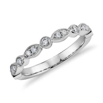 Milgrain Marquise and Dot Diamond Ring in 14k White Gold 15 ct