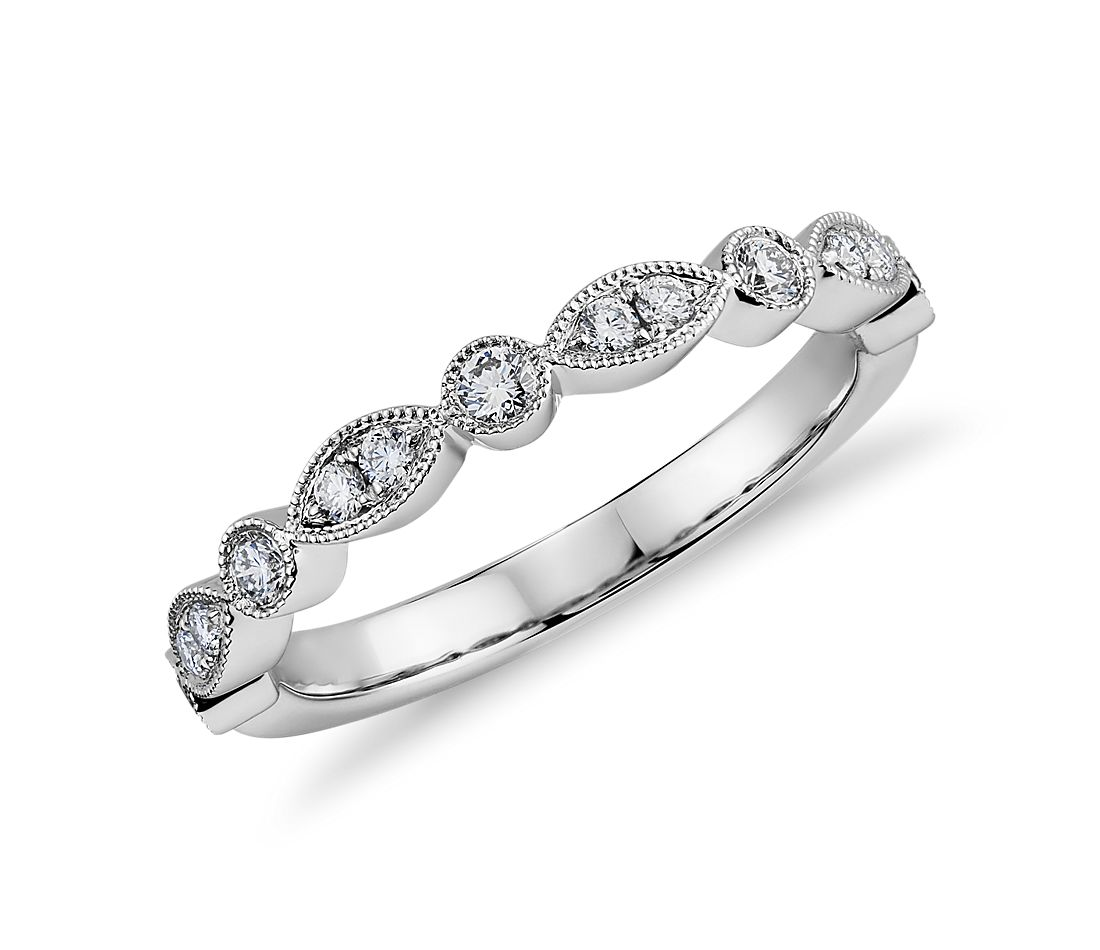 Milgrain Marquise and Dot Diamond Ring in 14k White Gold
