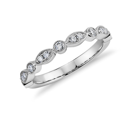 Milgrain Marquise and Dot Diamond Ring in 14k White Gold