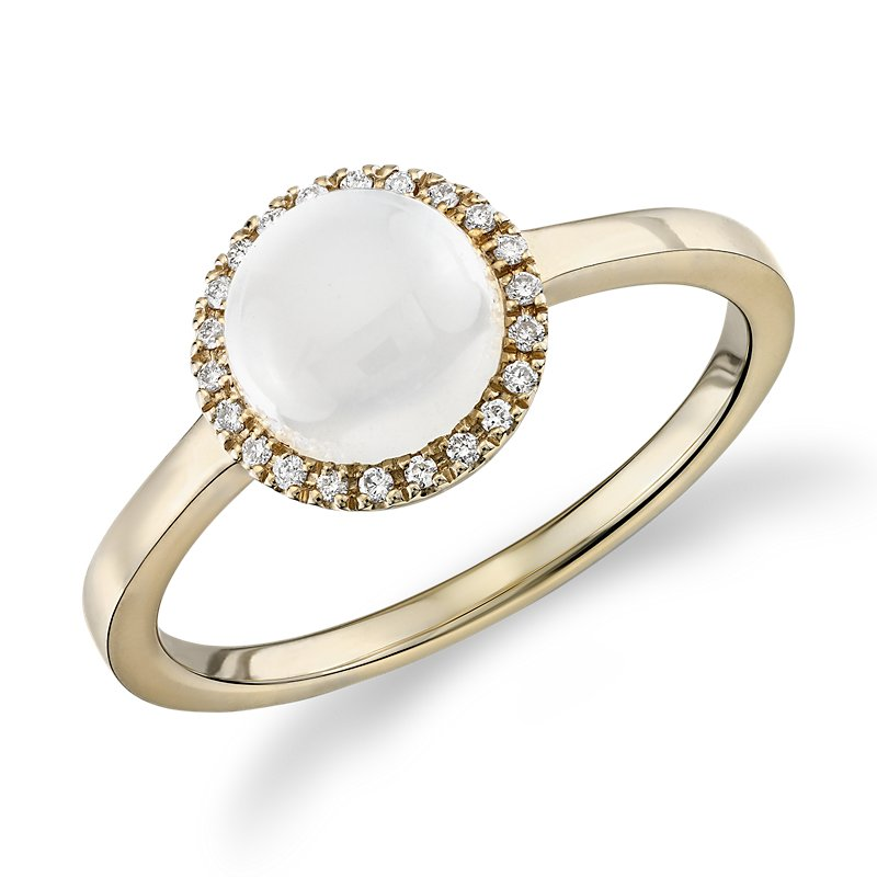 Petite Round White Moonstone Cabochon Ring with Diamond Halo in 1