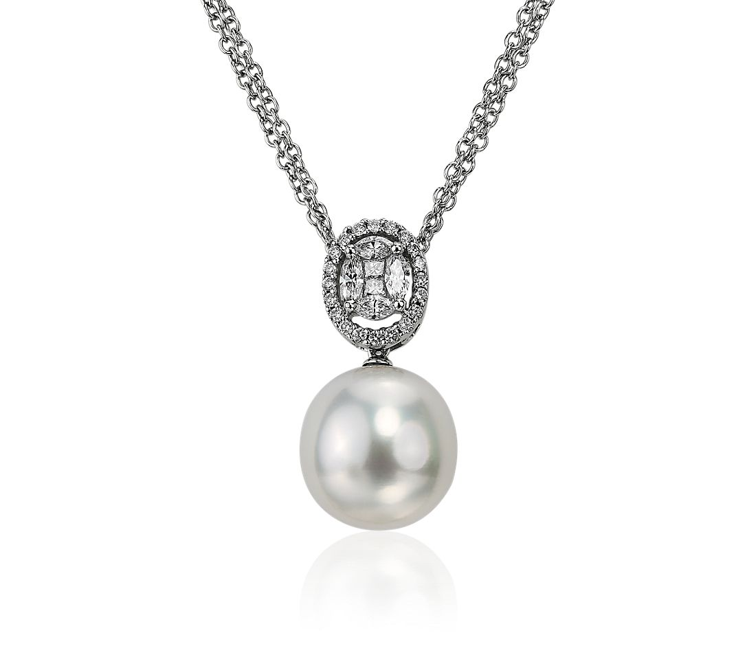 White South Sea Pearl Drop Pendant in 18k White Gold (14.0-14.5mm)