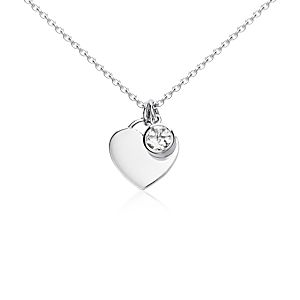 White Topaz Birthstone Heart Pendant in Sterling Silver (April) (4.5mm)