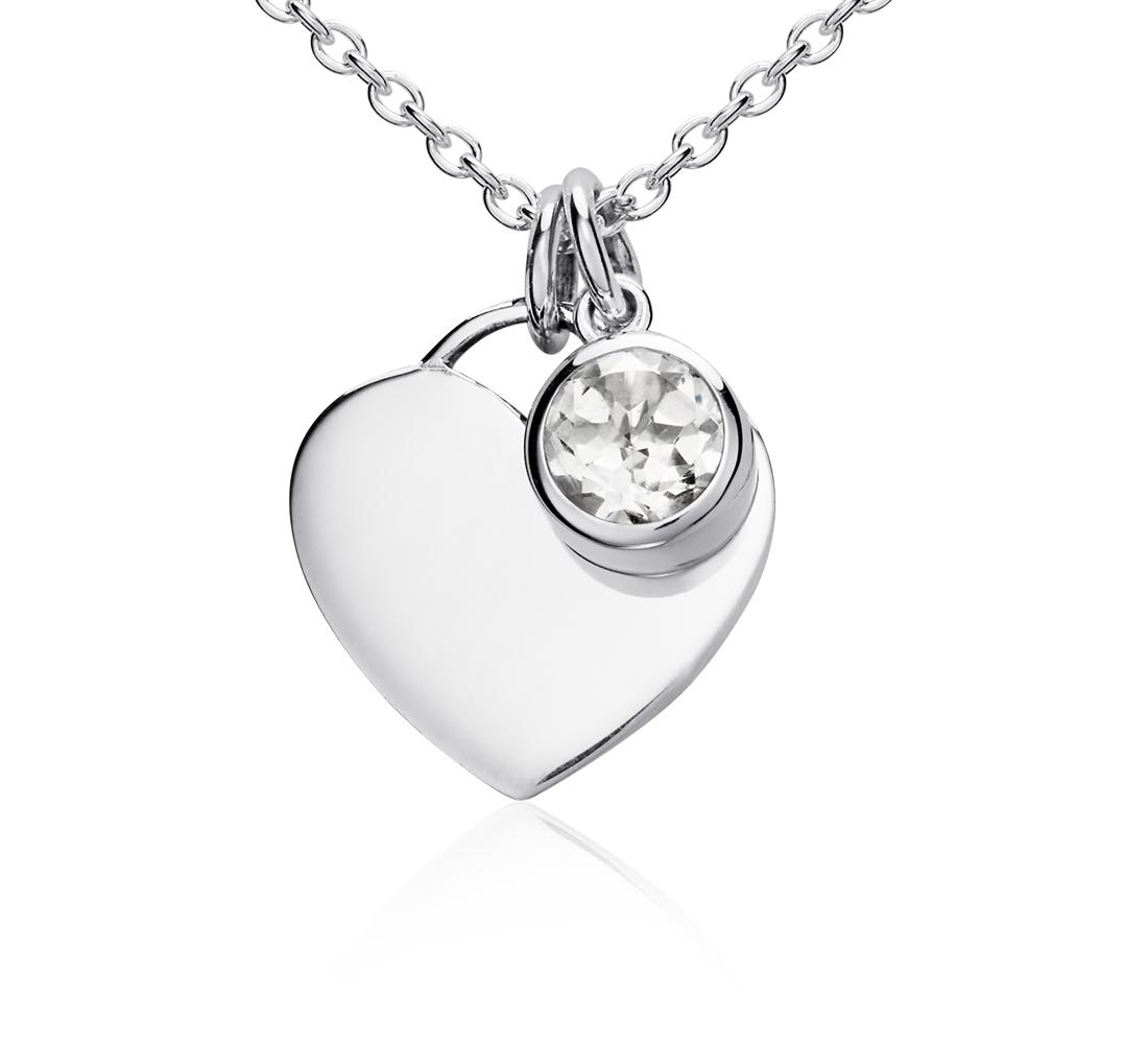 Colgante con forma de corazón con piedra natal de topacio blanco en plata de ley (Abril) (4,5mm)