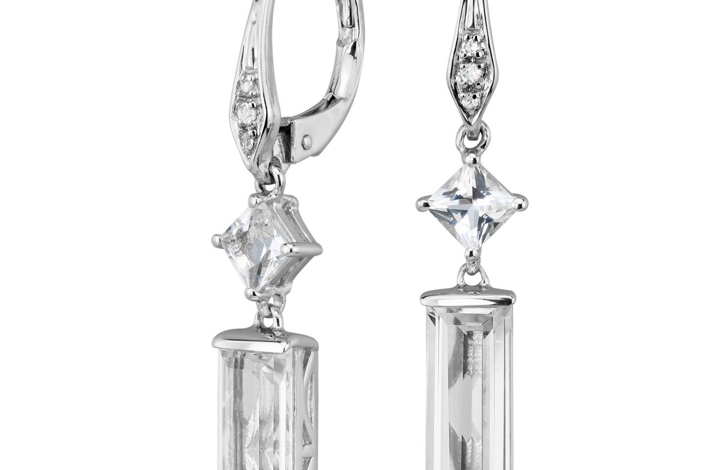 Pendants d'oreilles topaze blanche taille émeraude vintage en argent sterling (13x5mm)