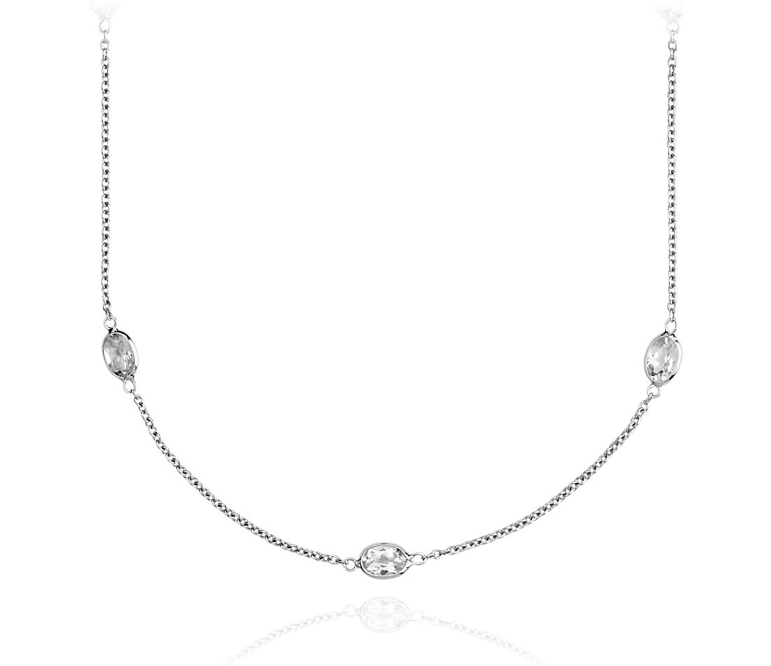 White Topaz Gemstone Necklace in Sterling Silver - 36'' Long