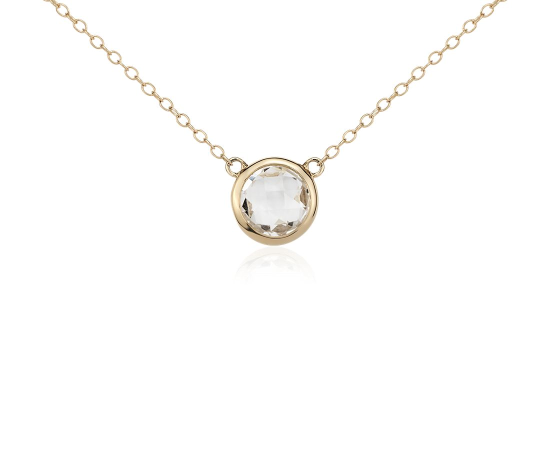 Collier solitaire en topaze bleue en or jaune 14 carats (8 mm)