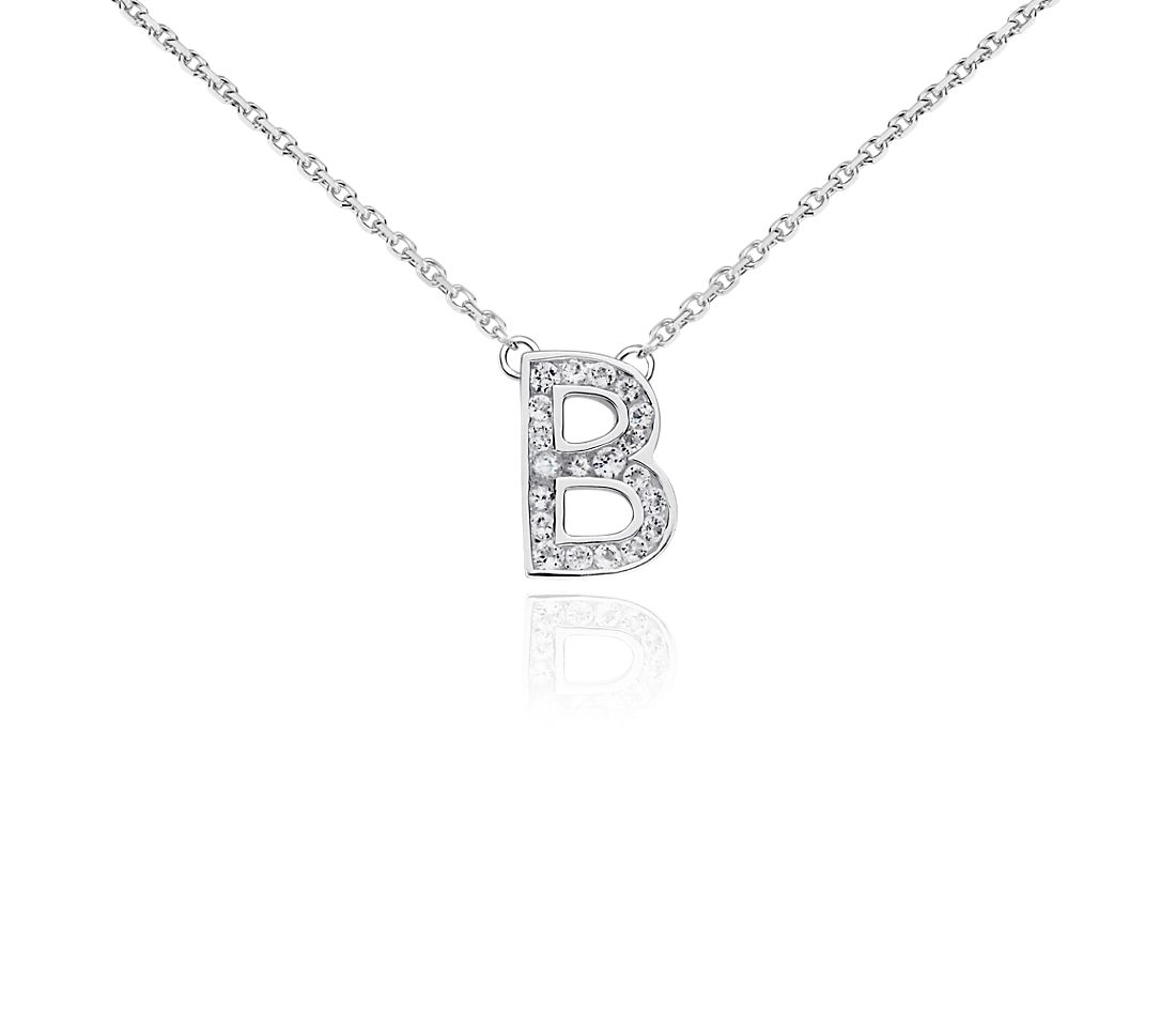 "White Topaz Initial ""B"" Pendant in Sterling Silver"