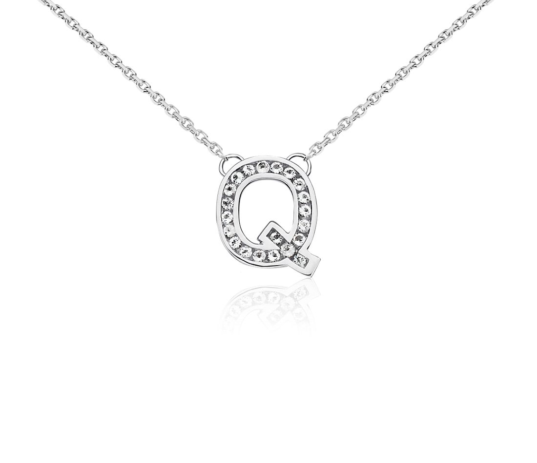 "White Topaz Initial ""Q"" Pendant in Sterling Silver"