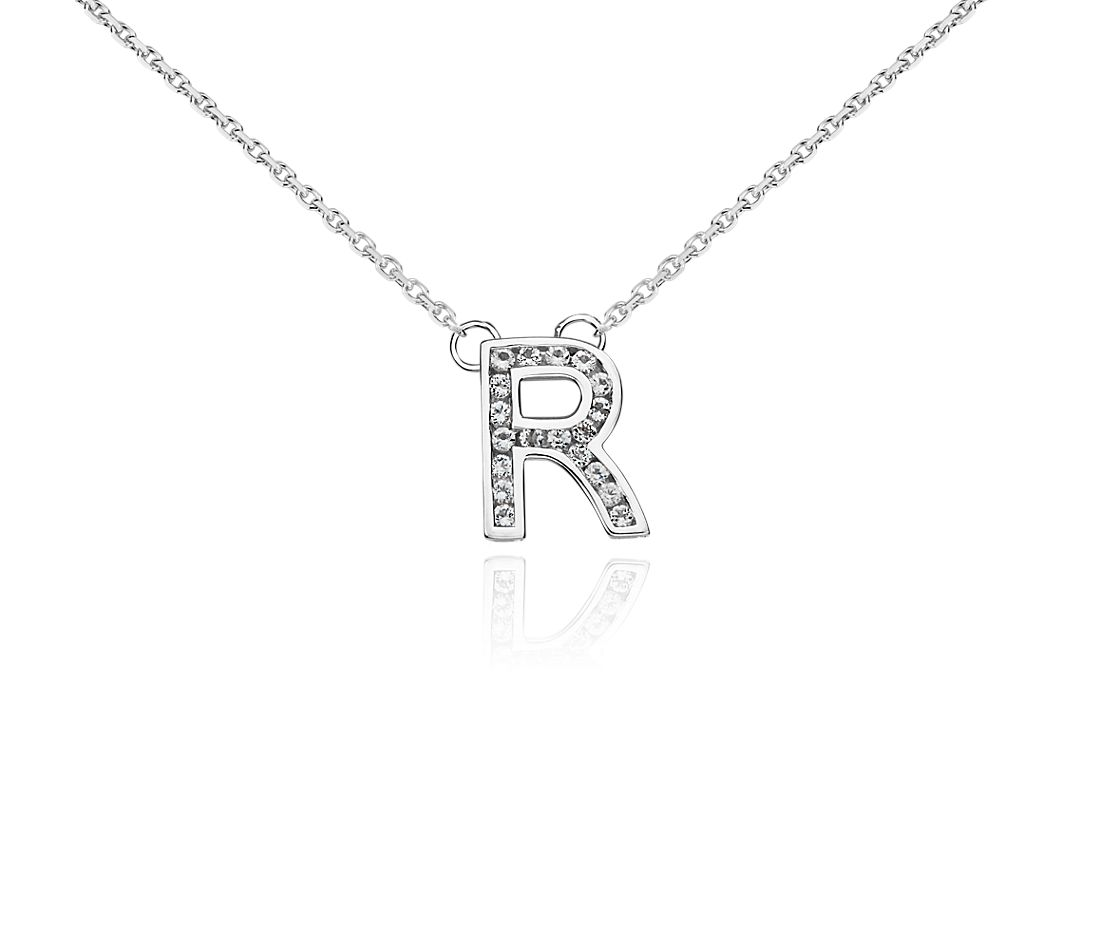 "White Topaz Initial ""R"" Pendant in Sterling Silver"