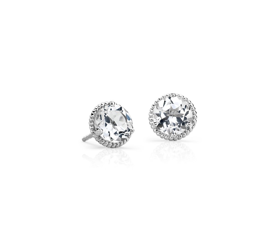 White Topaz Roped Earrings in Sterling Silver (7mm)