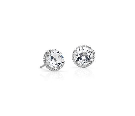 White Topaz Roped Earrings In Sterling Silver 7mm