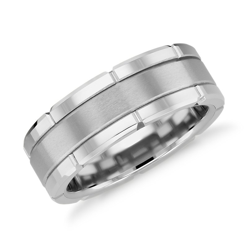 Link Wedding Band in White Tungsten Carbide (8mm)