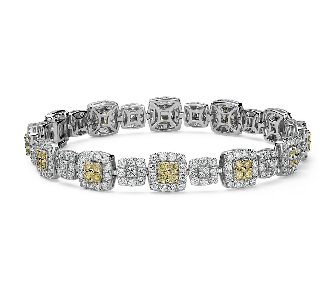 Fancy Yellow and White Diamond Halo Bracelet in 18k Gold (5.12 ct. tw.)