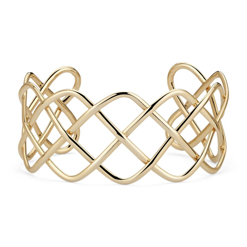 Wide Braided Cuff in 14k Italian Yellow Gold