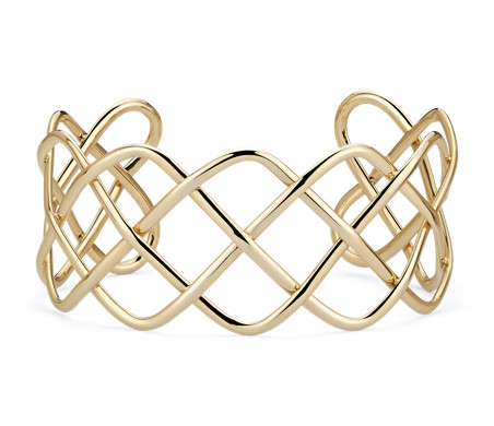 Wide Braided Cuff in 14k Yellow Gold