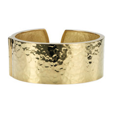 Wide Hammered Hinged Cuff in 18k Italian Yellow Gold 27mm