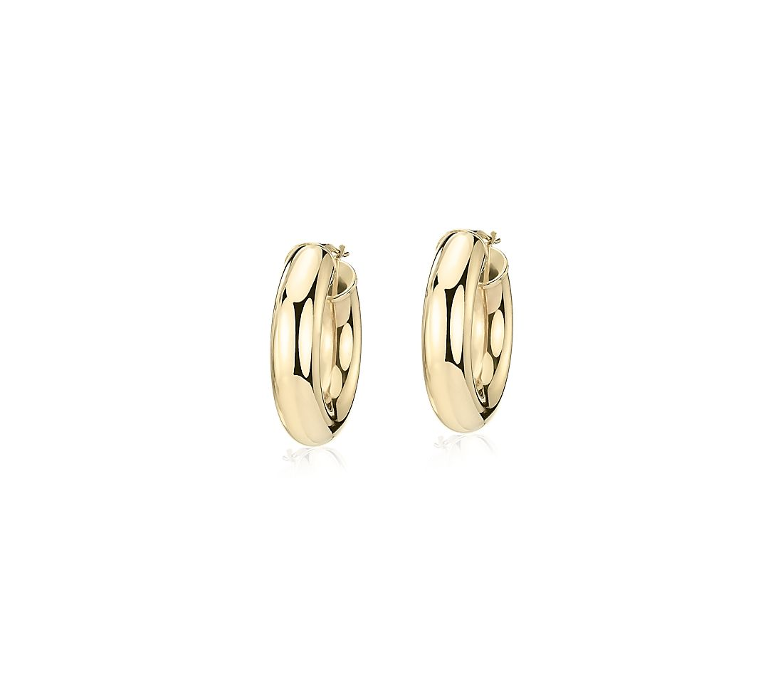 "Wide Hoop Earrings in 14k Yellow Gold (7/8"")"