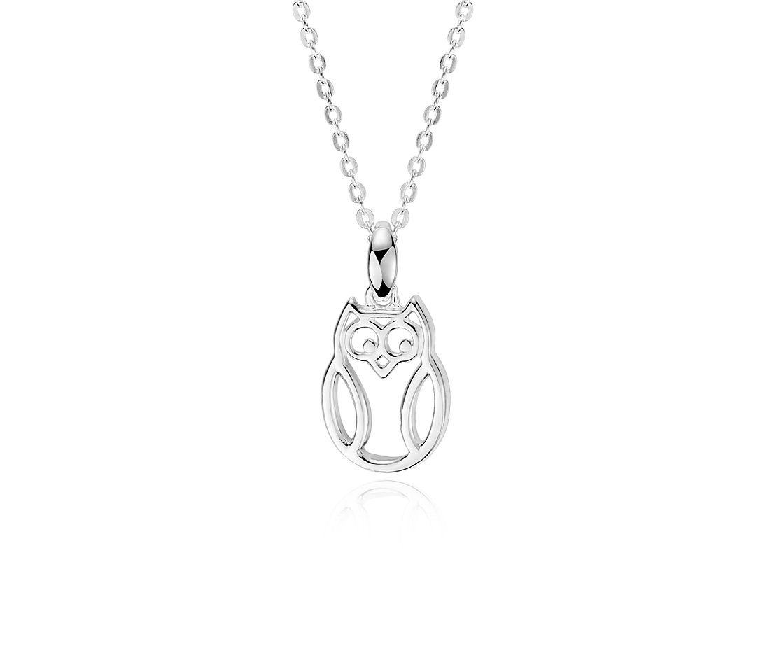 Wise Owl Charm Pendant in Sterling Silver