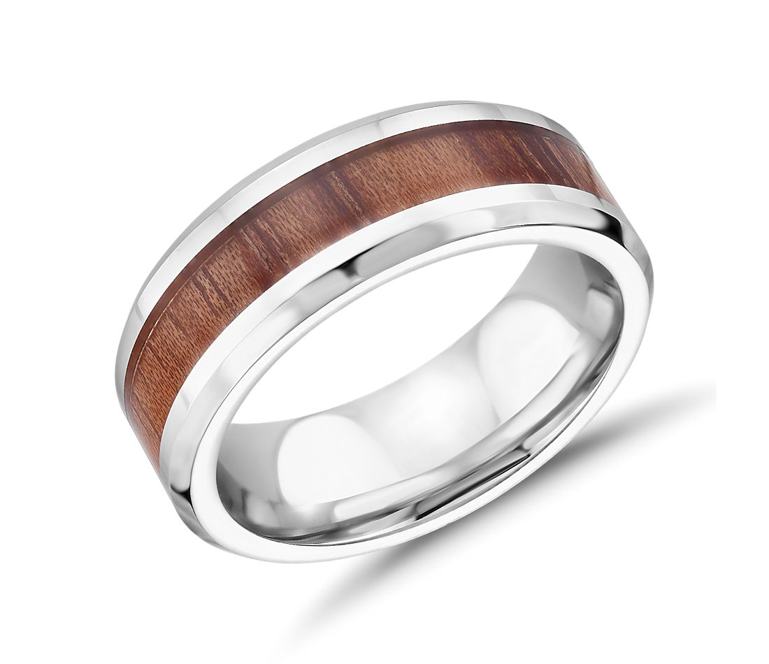 Wood Inlay Wedding Band in Cobalt (8mm)
