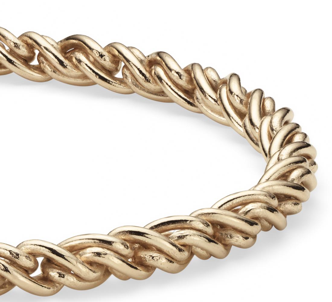 Bracelet tissé en or jaune 14carats