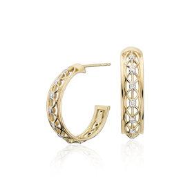 Aretes tipo argolla con halo entrelazado de Angela George con detalle de diamantes en oro amarillo de 14k