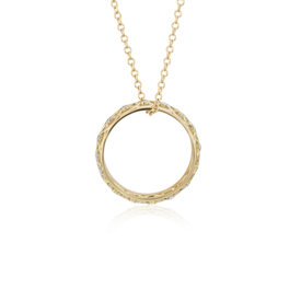Angela George Woven Halo Ring Pendant with Diamond Detail in 14k Yellow Gold