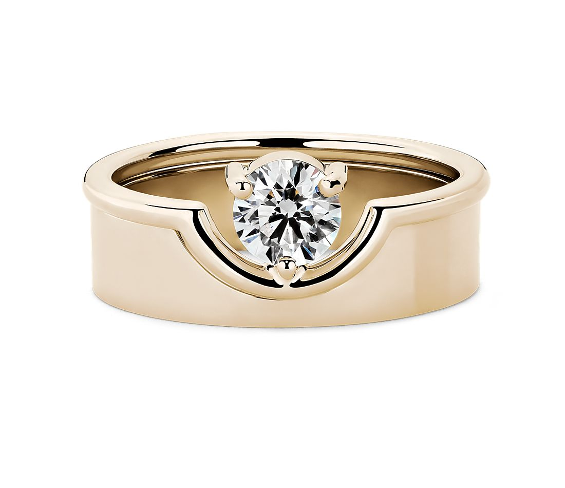 WWAKE 'The Duo Ring' Claw-Set Diamond Engagement Ring in 14k Fairmined Yellow Gold