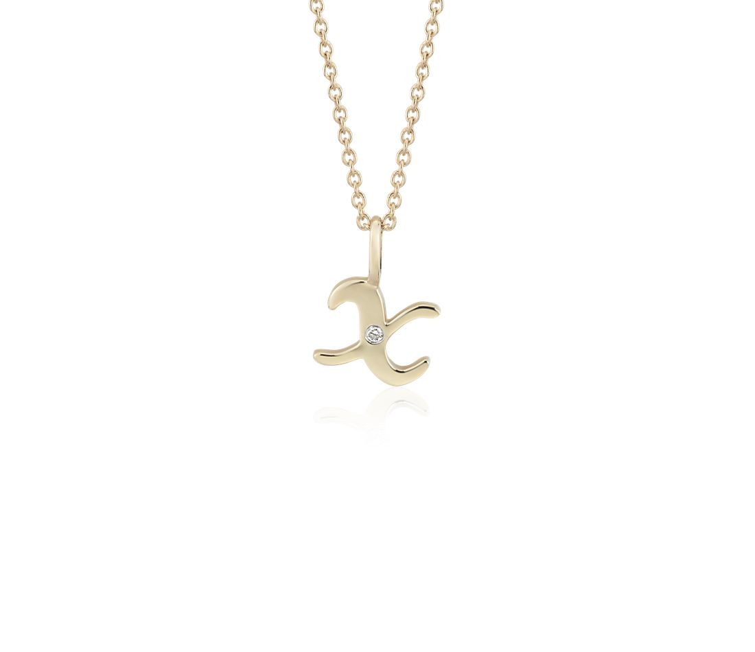 """X"" Mini Initial Pendant with Diamond Detail in 14 Yellow Gold"