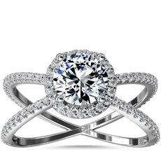 """新款 14k 白金""""X"""" 分叉戒环隐藏式光环钻石订婚戒指(1/2 克拉总重量)"""
