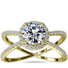 NEW X Split Shank Hidden Halo Diamond Engagement Ring in 14k Yellow Gold (1/2 ct. tw.)
