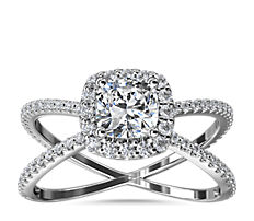 NEW X Split Shank Hidden Halo Diamond Engagement Ring in Platinum (1/2 ct. tw.)