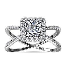 鉑金X 形分叉戒指環隱藏光環鑽石訂婚戒指(1/2 克拉總重量)
