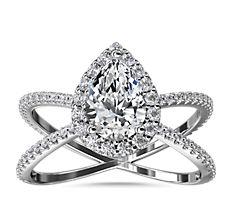 新款鉑金X 形分叉戒指環隱藏光環鑽石訂婚戒指 (1/2 克拉總重量)