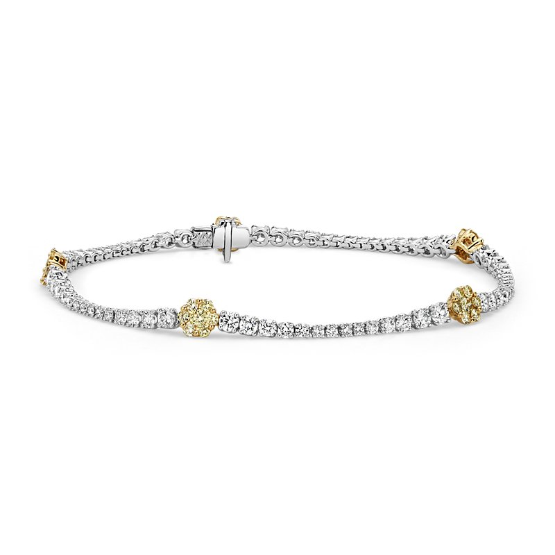 Yellow and White Diamond Floral Bracelet in 18k Yellow and White