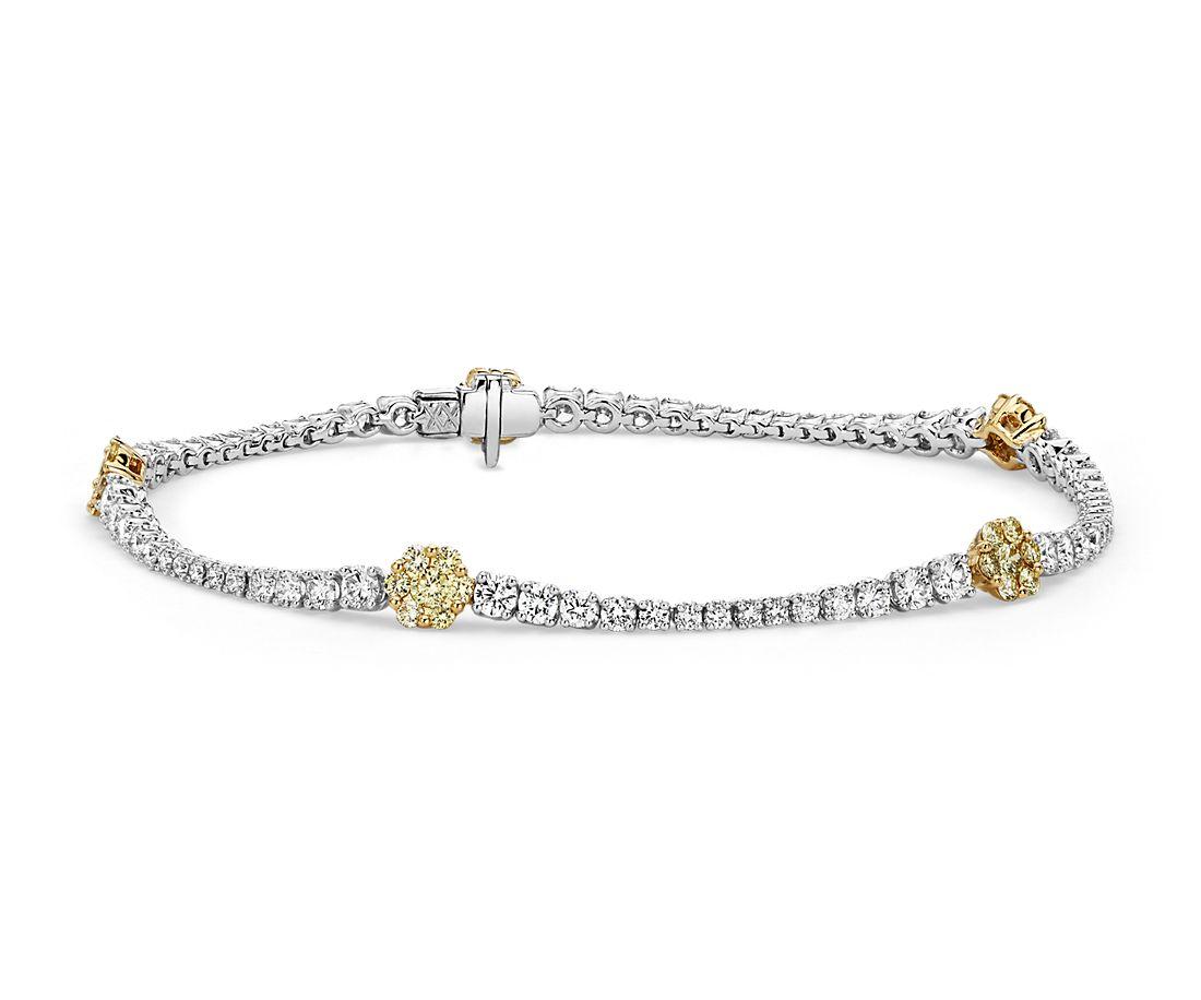 18k 黃金和白金黃色與白色鑽石花卉手鍊(3 1/5 克拉總重量)
