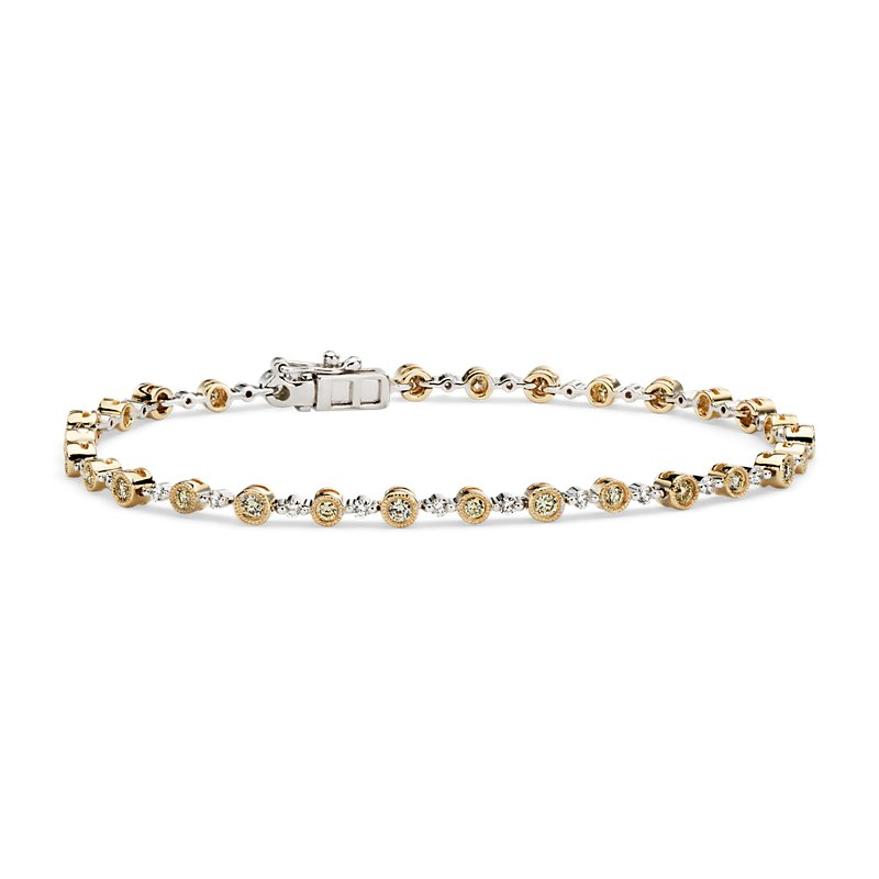 Yellow and White Diamond Milgrain Bracelet in 14k Yellow and Whit