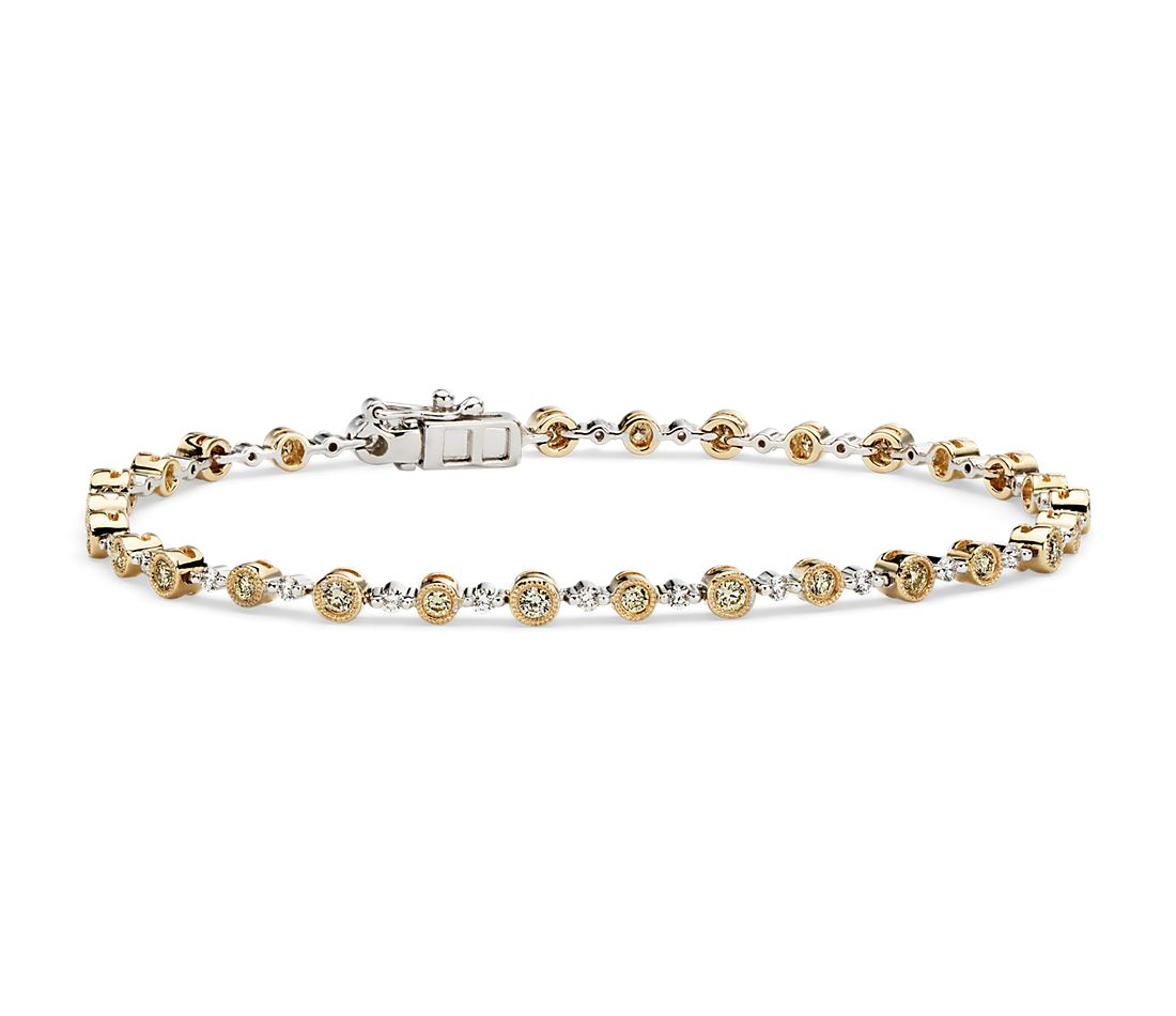 Yellow and White Diamond Milgrain Bracelet in 14k Yellow and White Gold (1 1/10 ct. tw.)