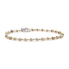 14k 金和白金黄色与白色钻石锯状滚边手链<br>(1 1/10 克拉总重量)