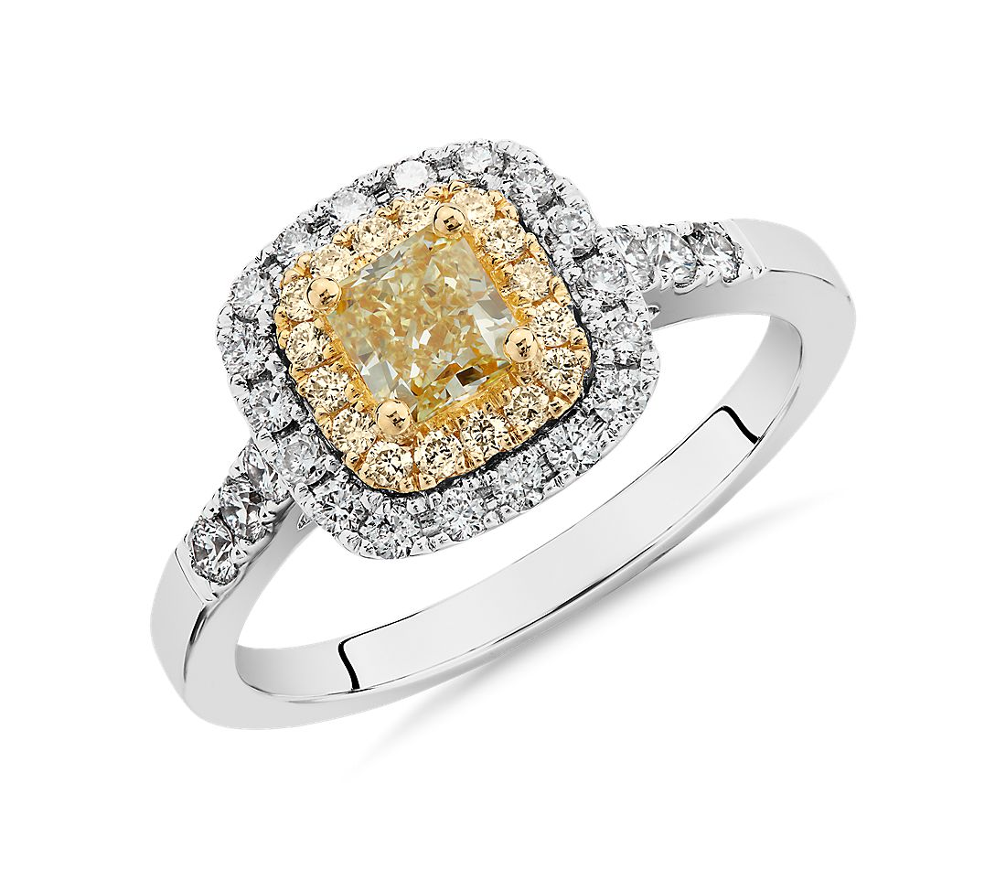 Yellow Cushion-Cut Diamond Halo Ring in 18k White and Yellow Gold (1 ct. tw.)
