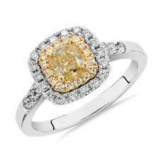 新款 18k 白金和金黄色枕形切割黄色钻石光环戒指<br>(1 克拉总重量)