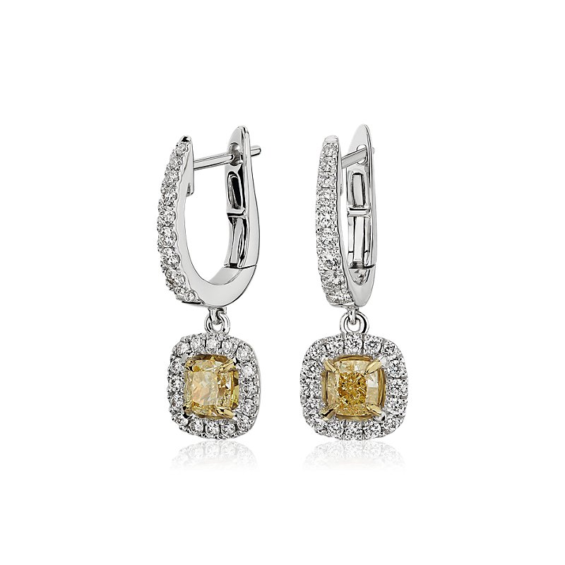 Yellow Cushion-Cut Diamond Halo Stud Earrings in 18k White and Ye