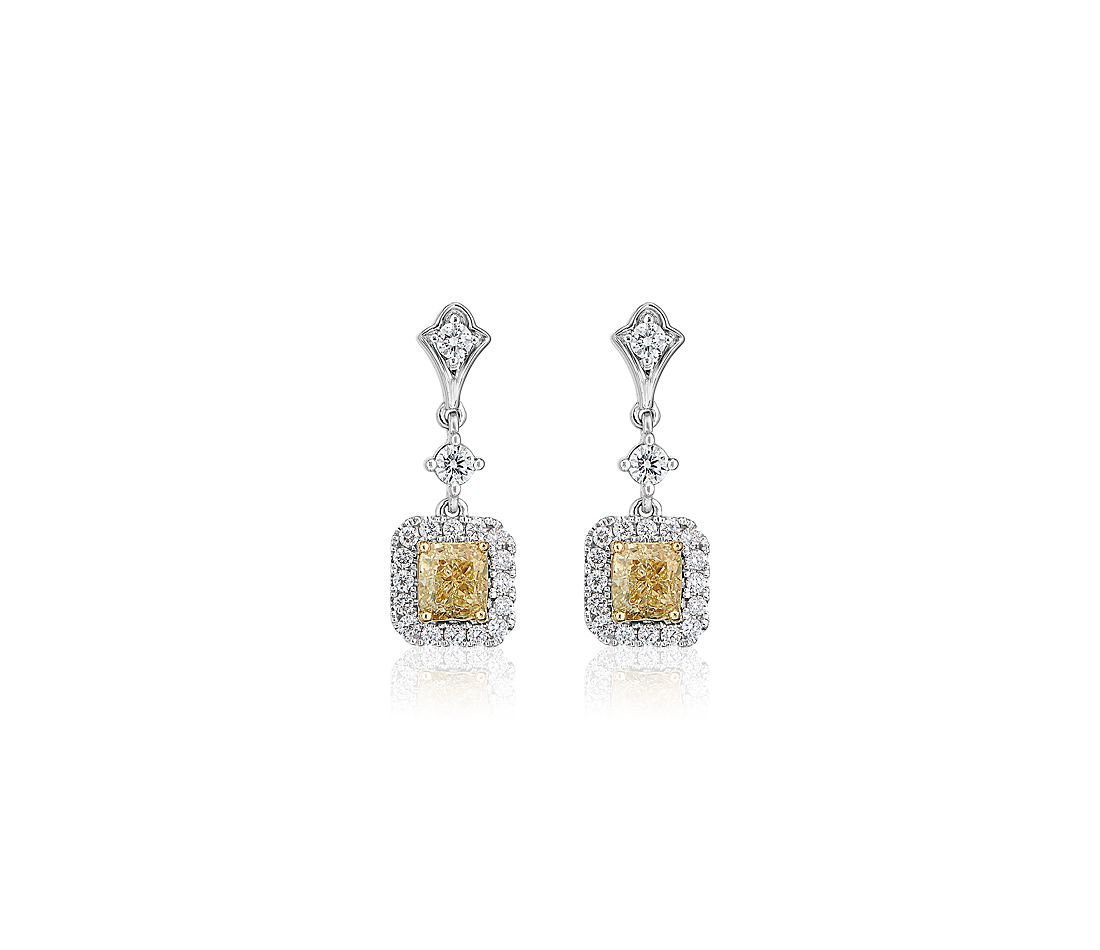 Yellow Cushion-Cut Diamond Halo Stud Earrings in 18k White and Yellow Gold (1 5/8 ct. tw.)